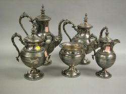 Five-piece Rogers, Smith & Co. Silver Plate Tea and Coffee Service.