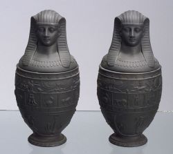 Pair of Wedgwood Black Basalt Canopic Jars and Covers