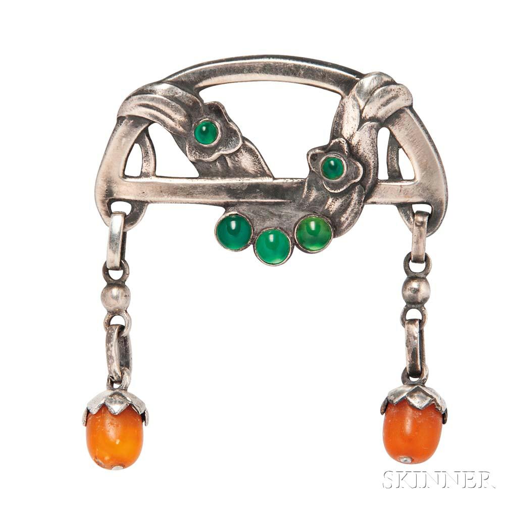 .828 Silver, Green Onyx, and Amber Brooch, Georg Jensen