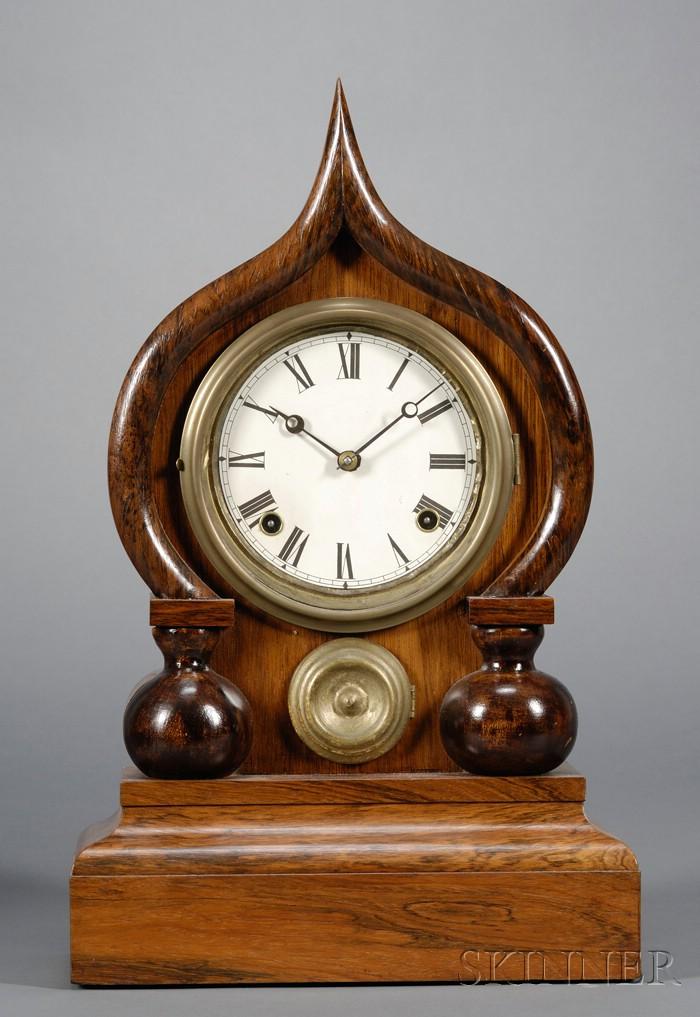 Antique vintage ingraham cameo clock works bristol ct usa made missing key