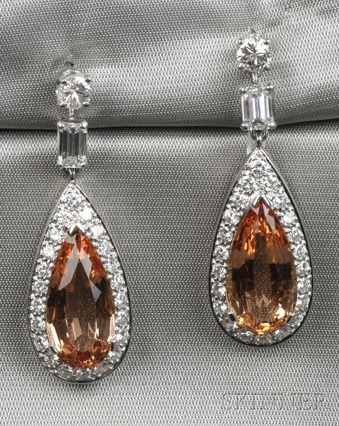 Platinum, Topaz, and Diamond Earpendants