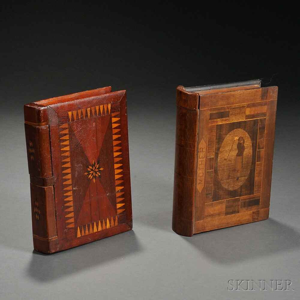Two Inlaid Book-form Boxes