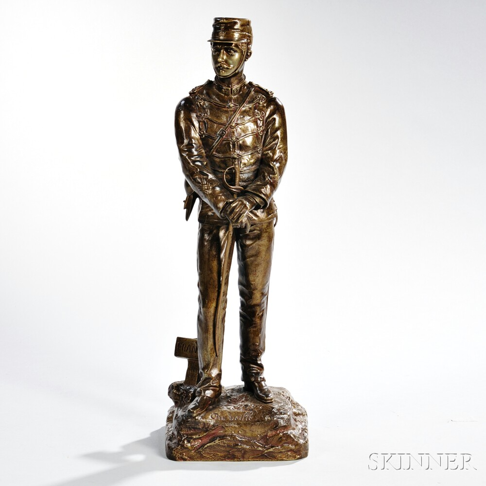 After Charles Anfrie, (French, 1833-1905)     Bronze of a French Soldier