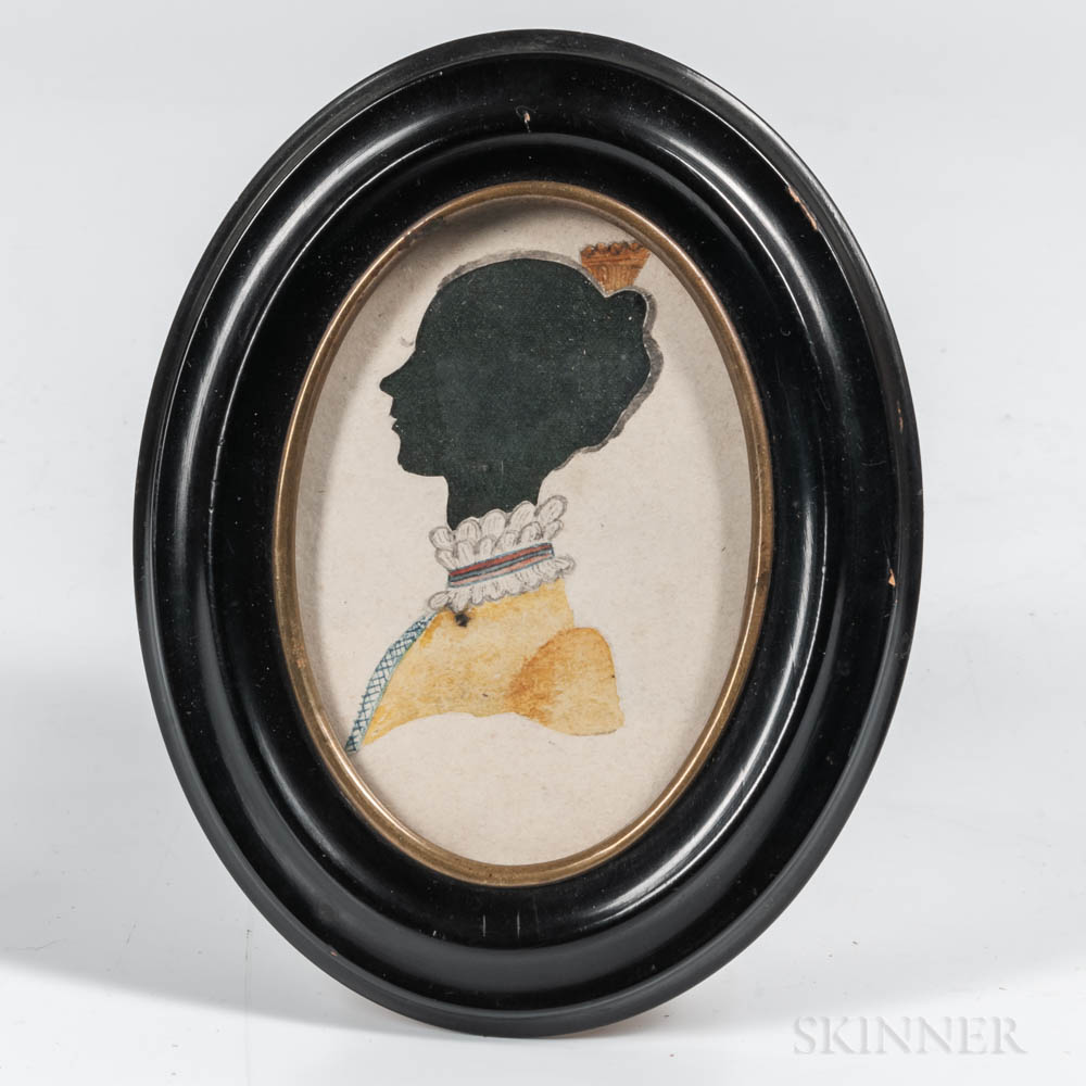 Two Silhouette and Watercolor Portraits of Women