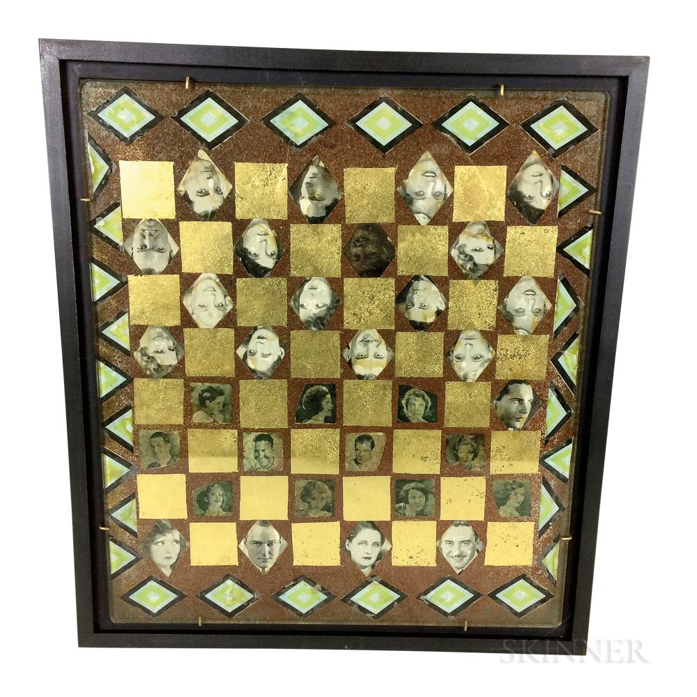 Framed Decoupage Glass Checkerboard