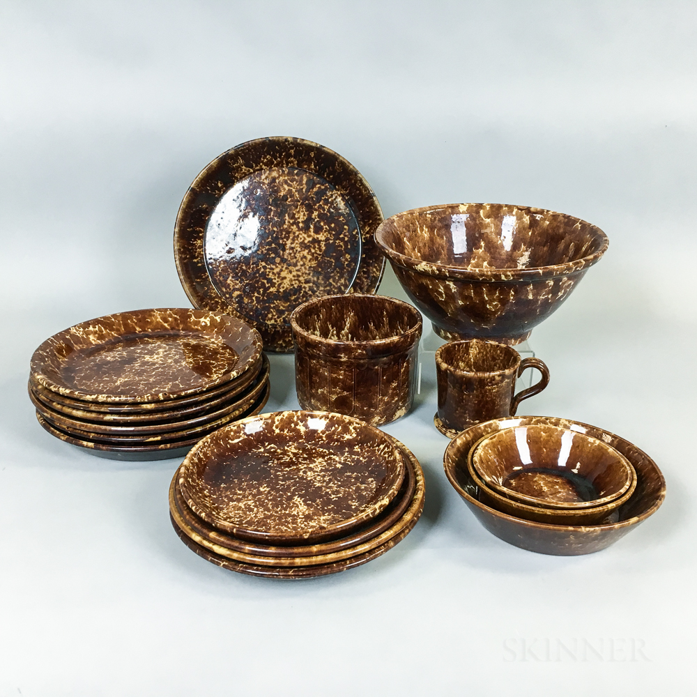 Seventeen Rockingham-glazed Pottery Tableware Items