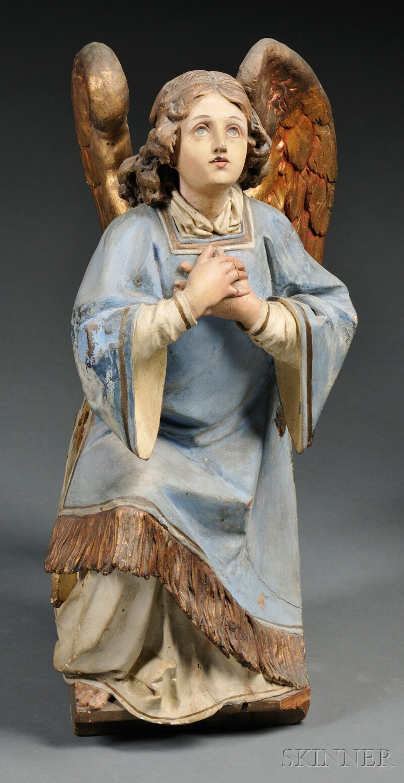 Carved, Painted, and Gilded Wood Angel