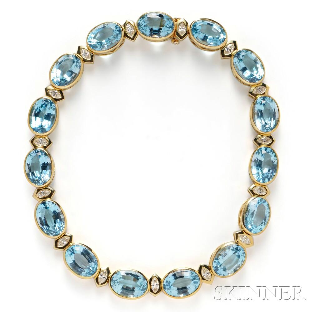 18kt Gold, Topaz, and Diamond Necklace, Tambetti