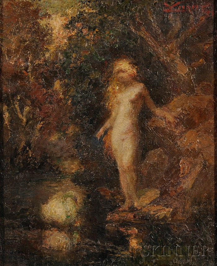 School of Narcisse-Virgile Díaz de la Peña (French, 1807-1876)      Nude by Woodland Stream