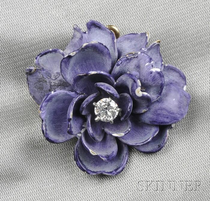 Art Nouveau 18kt Gold, Enamel, and Diamond Flower Pendant/Brooch, Tiffany & Co.