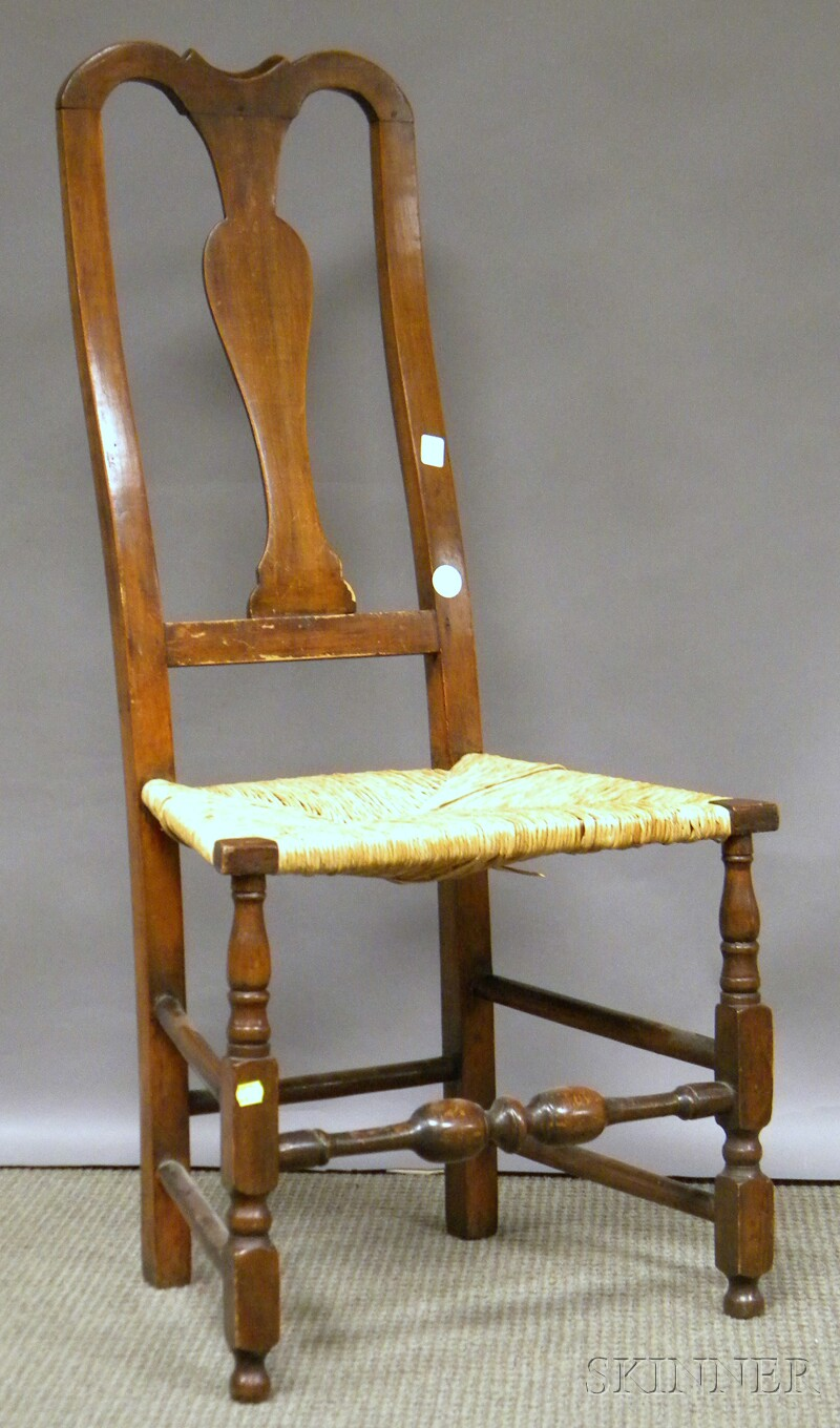 Queen Anne Maple Side Chair with Woven Rush Seat.