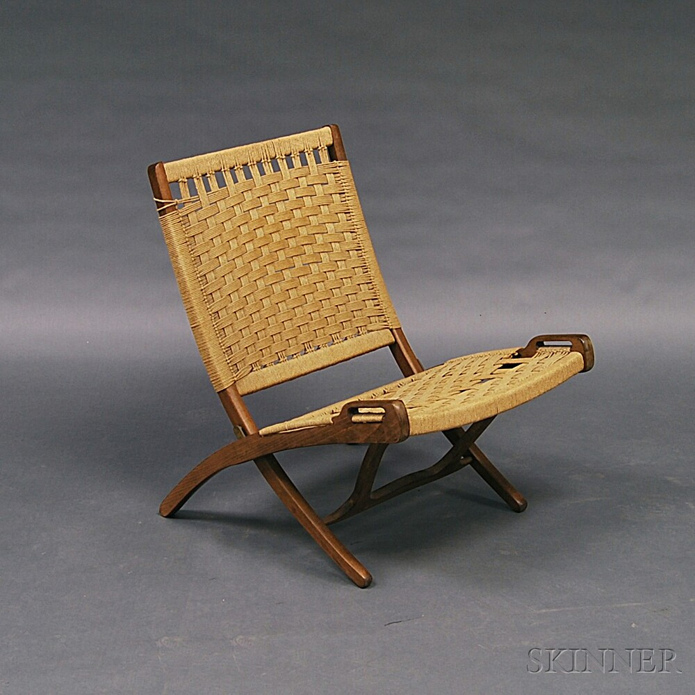 Hans Wegner Style Folding Teak Rope Chair
