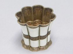 Russian Enameled Silver Fluted Cup.