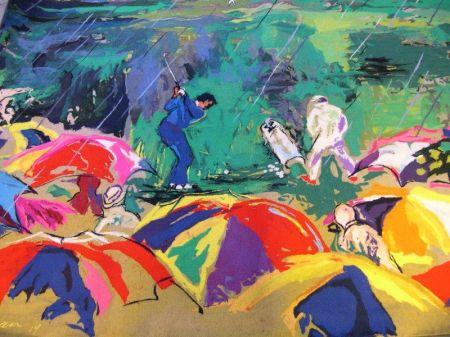 LeRoy Neiman Soft Art Arnie in the Rain   Cloth Panel