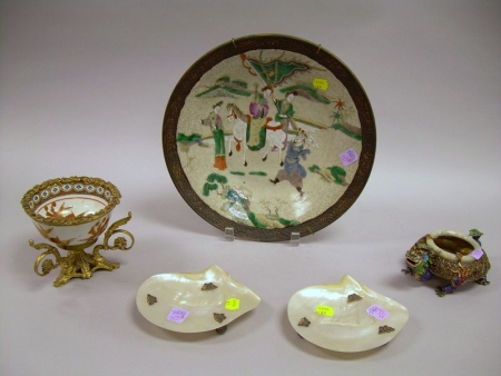 Chinese Gilt-bronze Mounted Porcelain Bowl, an Enameled Dragon-form Incense Bowl, Export Porcelain Plate, and a...