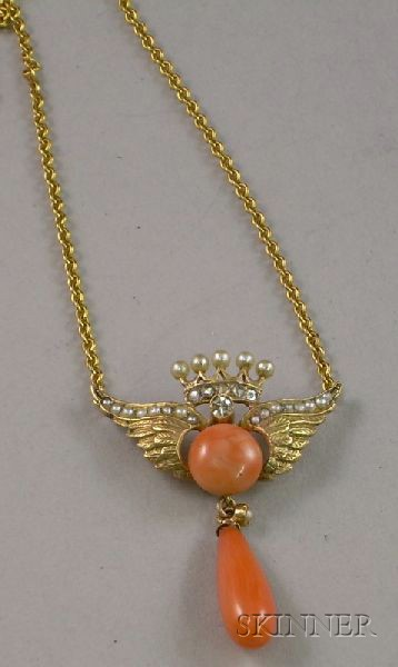 10kt Gold, Coral, and Seed Pearl Crowned Wings Lavaliere.