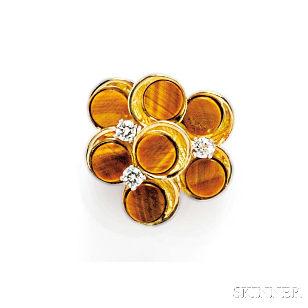 18kt Gold, Tiger's-eye Quartz, and Diamond Ring