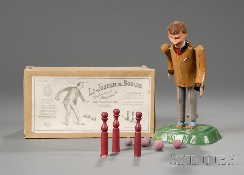 """Martin """"Le Joueur De Boules"""" Painted Tin Bowler Toy in Original Box"""