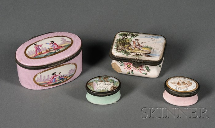 Four Enamel-decorated Boxes