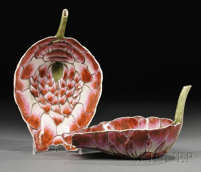 Pair of Famille Rose Lotus Cups