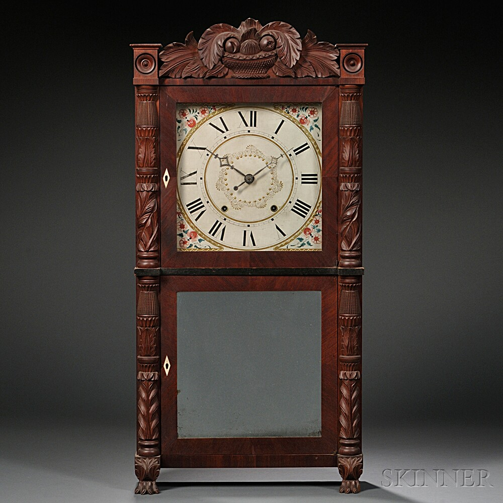 M. & E. Blakeslee Carved Front Mahogany Clock