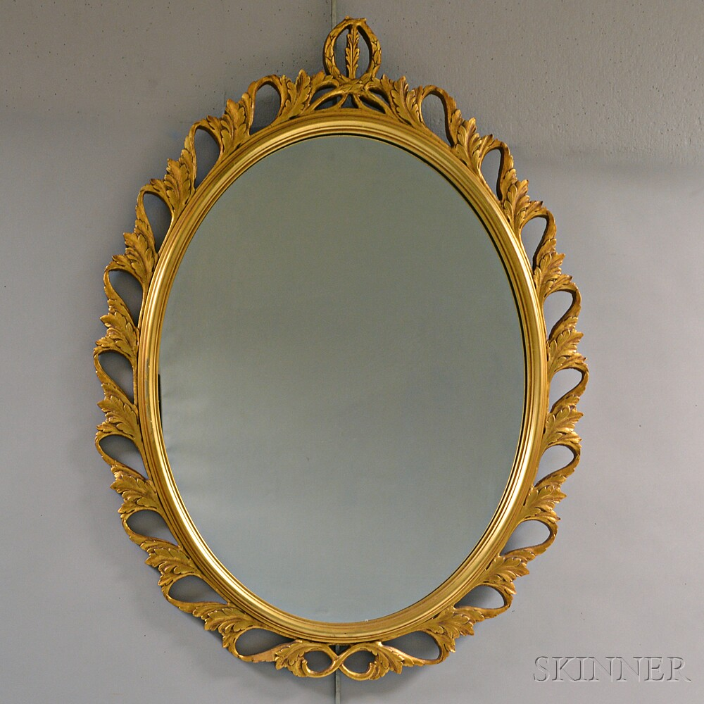 Carved Giltwood Oval Mirror