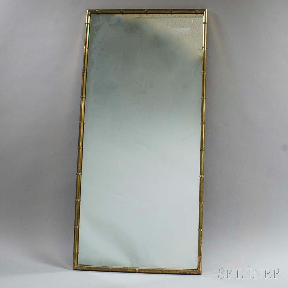 Faux Bamboo Brass Modern Mirror