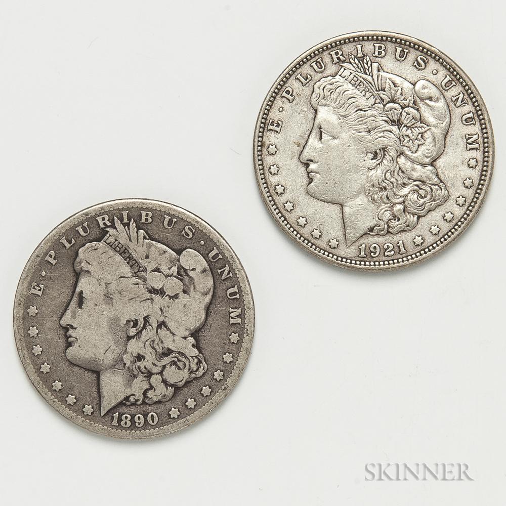 1890-CC and 1921-D Morgan Dollars.