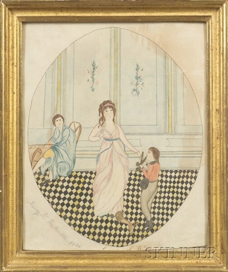 Nancy H. Fullerton, (American, early 19th Century)    Portrait of a Man, Woman, Boy and Dog on a Checkered Floor.