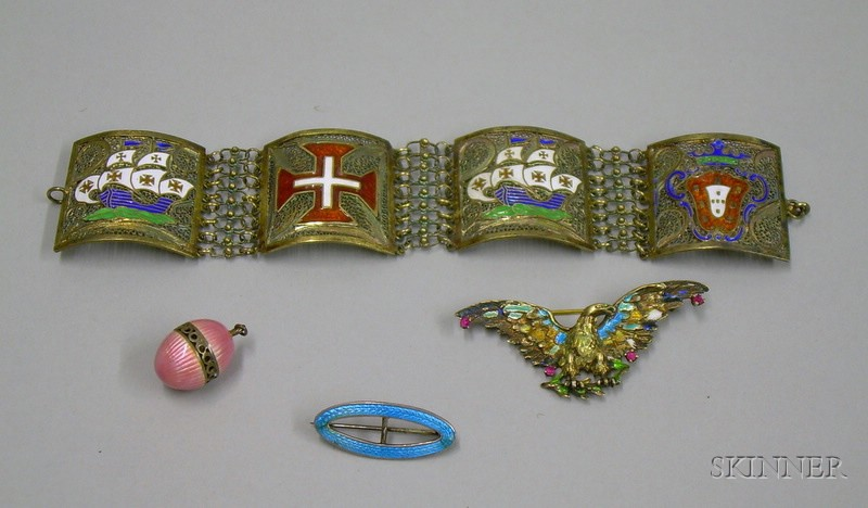 Four Pieces of Enameled Jewelry