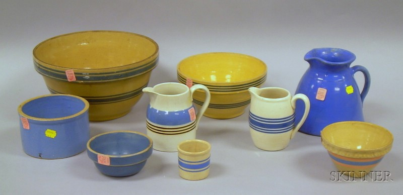 Group of Glazed and Decorated Stoneware and Ceramic Kitchenware