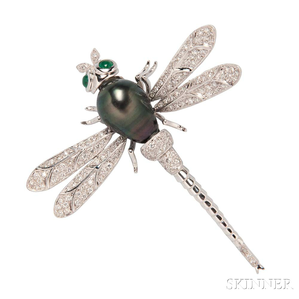 18kt White Gold, Tahitian Pearl, and Diamond Dragonfly Brooch