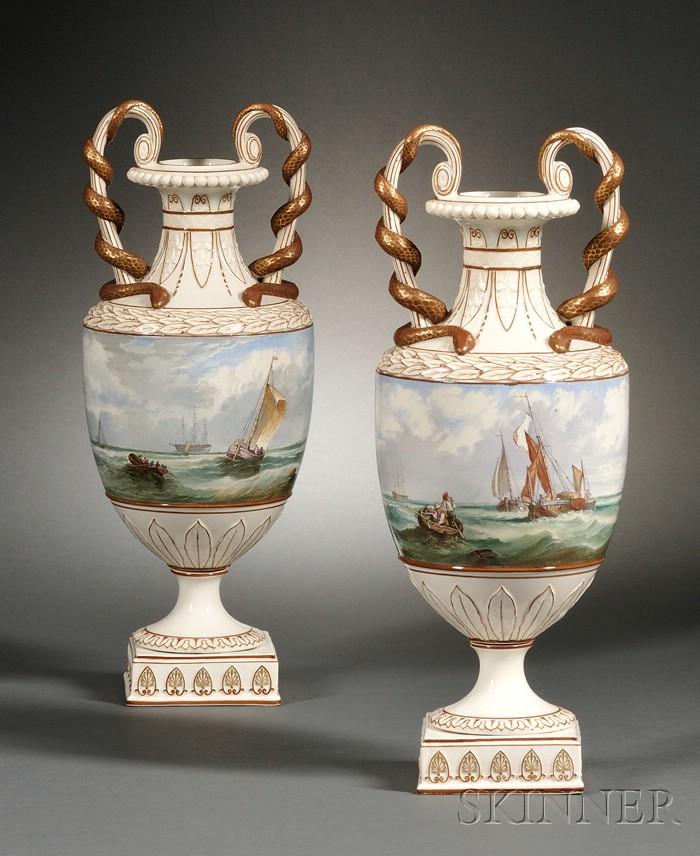 Pair of Wedgwood Marine Decorated Pearlware Vases