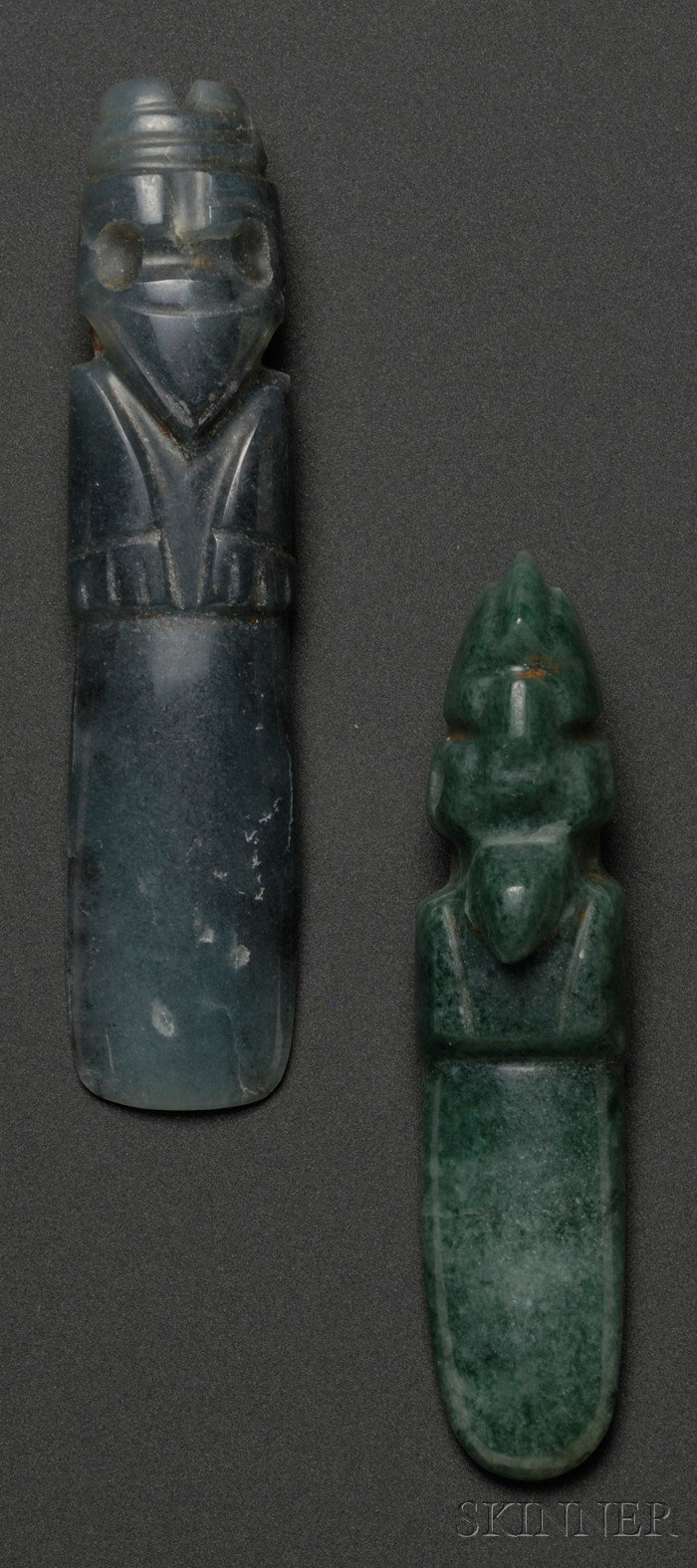 Two Pre-Columbian Carved Jade Bird Pendants