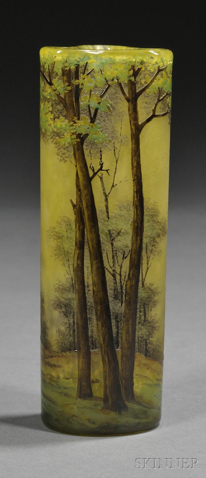 Daum Enameled Glass Vase