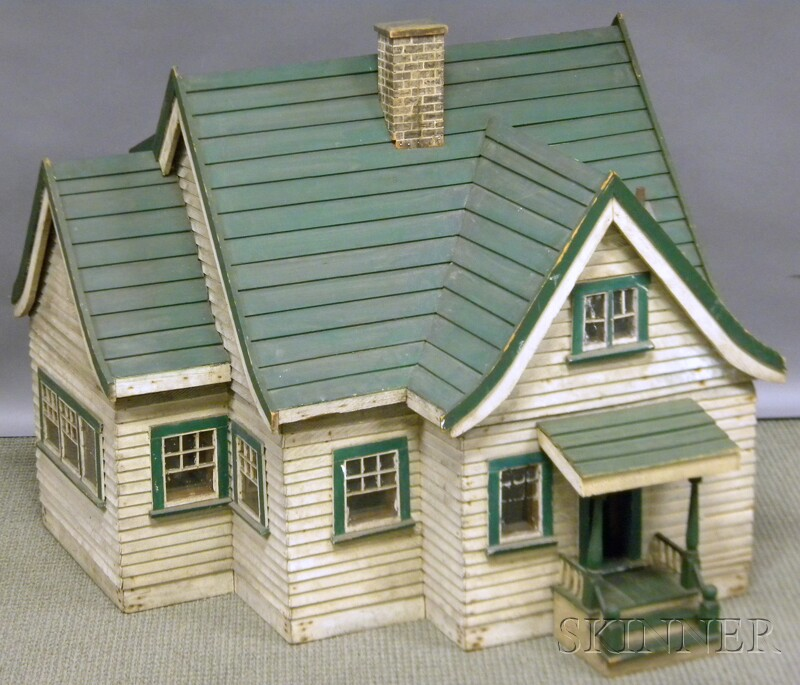 Scale Model White and Green-painted Wood Clapboard Two-story   House