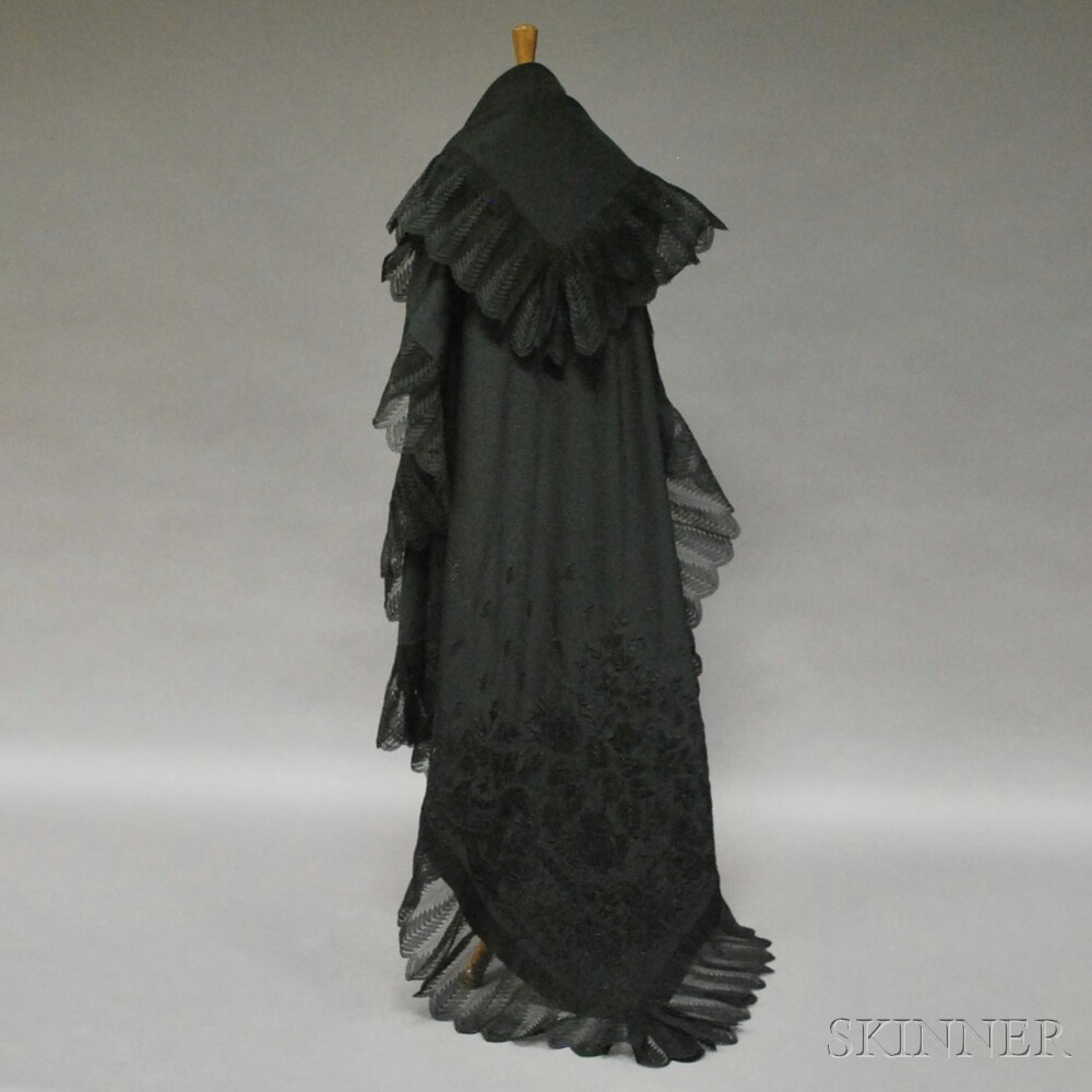 Black Henrietta Shawl with Corner Embroidery and Lace Trim