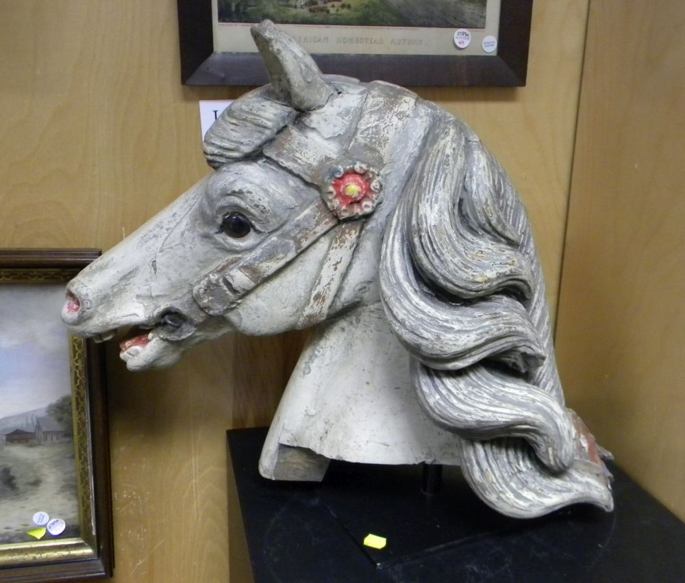 Carved and Painted Wood Carousel Horse Head