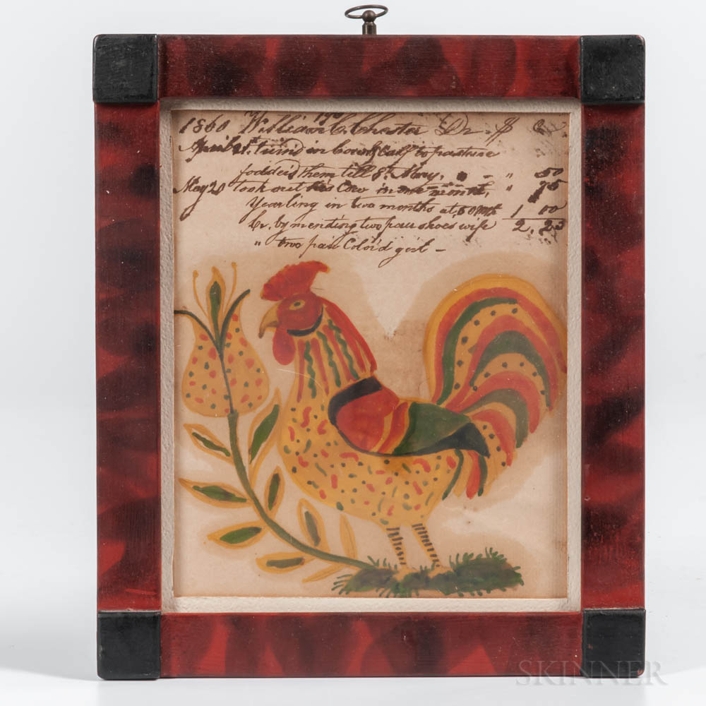 American School, Mid-19th Century      Portrait of a Rooster