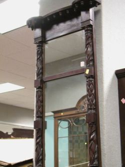Classical-style Carved Mahogany Tabernacle Mirror.