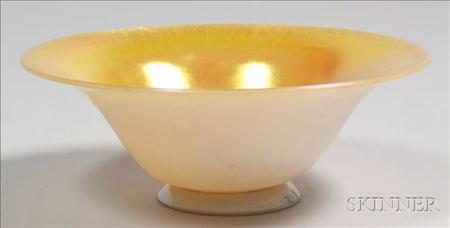 Steuben Art Glass Gold Aurene on Calcite Bowl