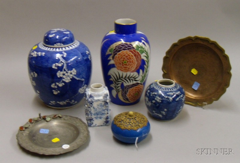 Seven Continental and Chinese Export Porcelain and Metal Table Items
