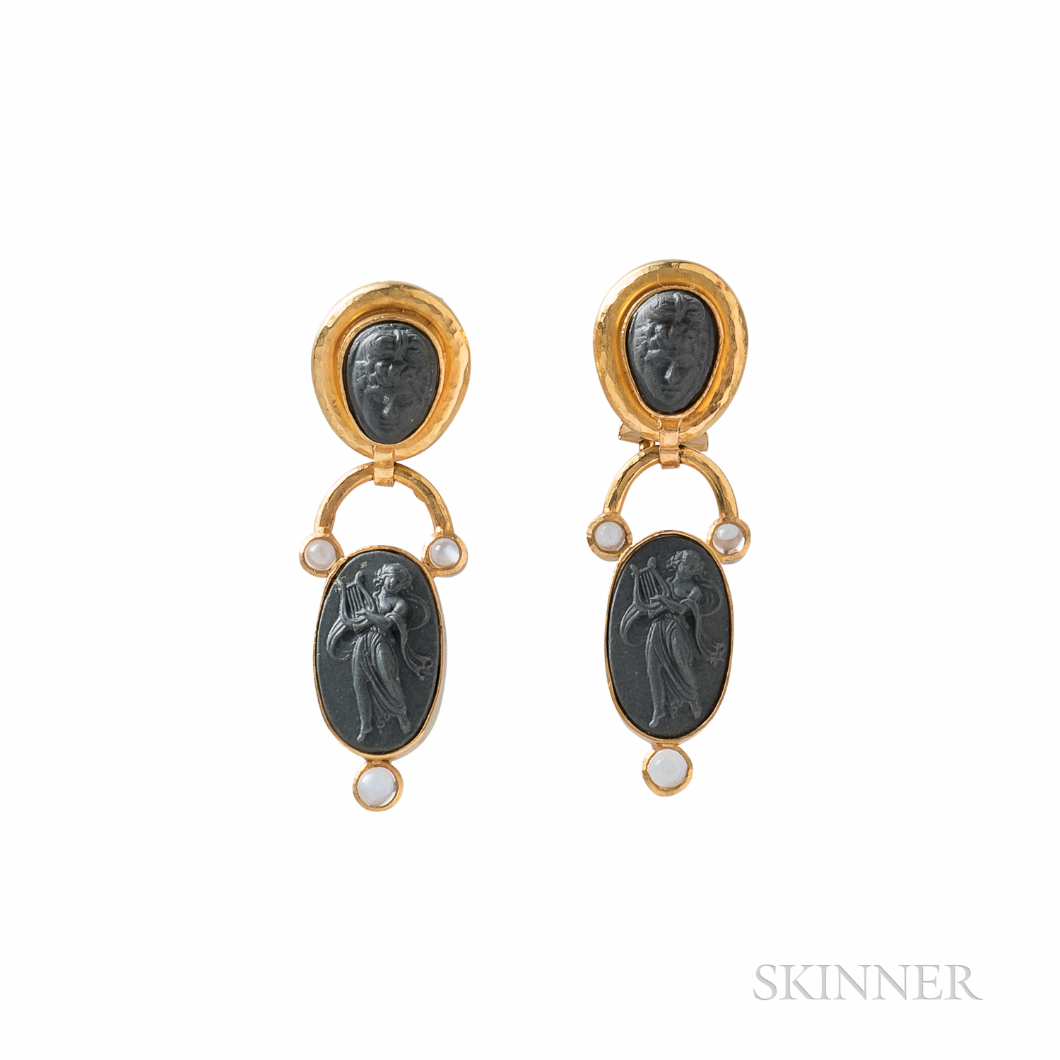 Elizabeth Locke 18kt Gold, Lava Cameo, and Moonstone Earrings