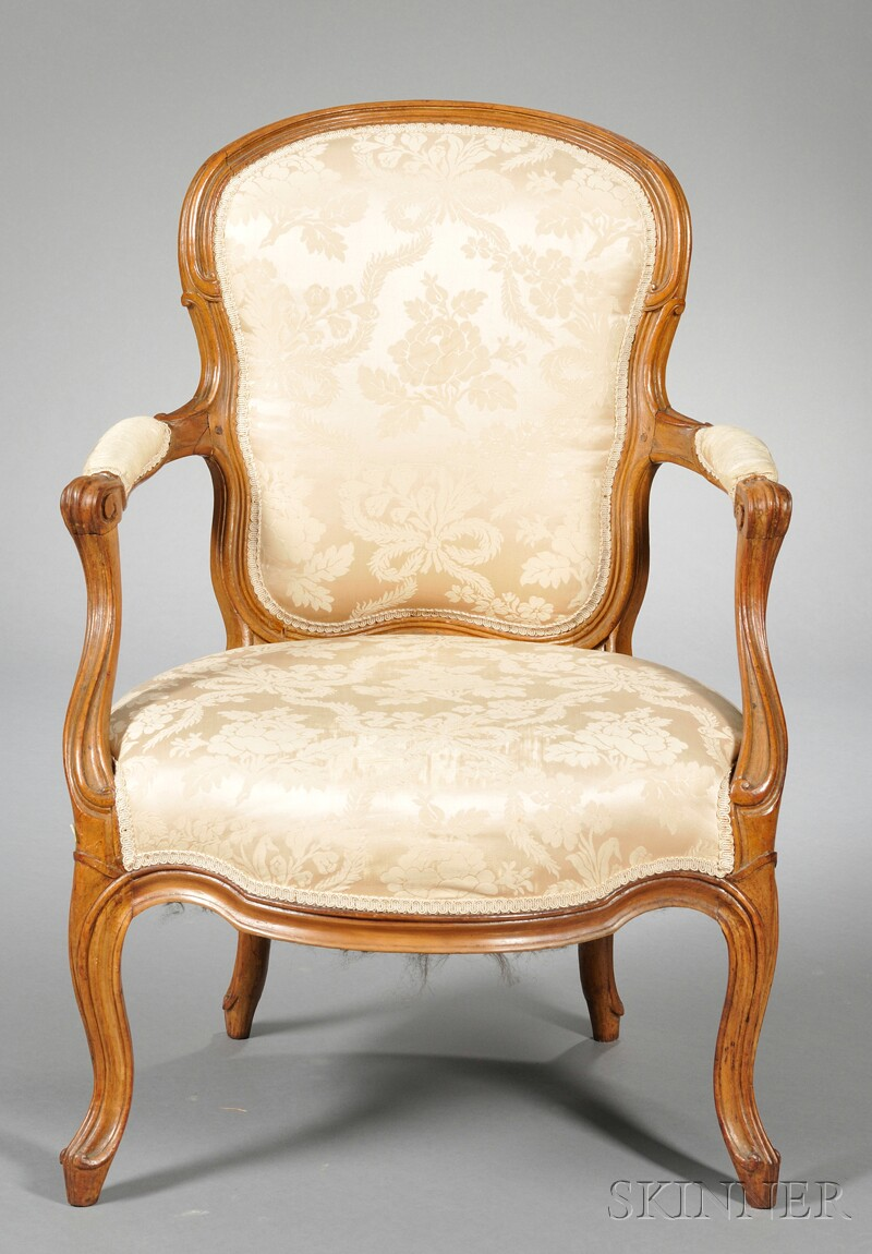 Louis XV Upholstered Fruitwood Fauteuil