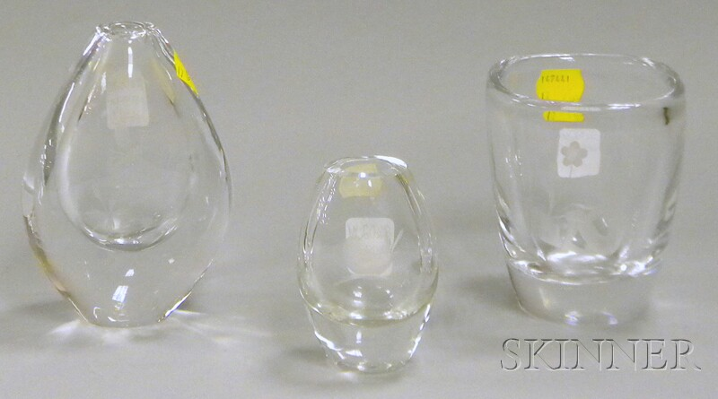 Two Orrefors Etched Colorless Crystal Art Glass Vases and a Small Danish Etched   Crystal Art Glass Vase
