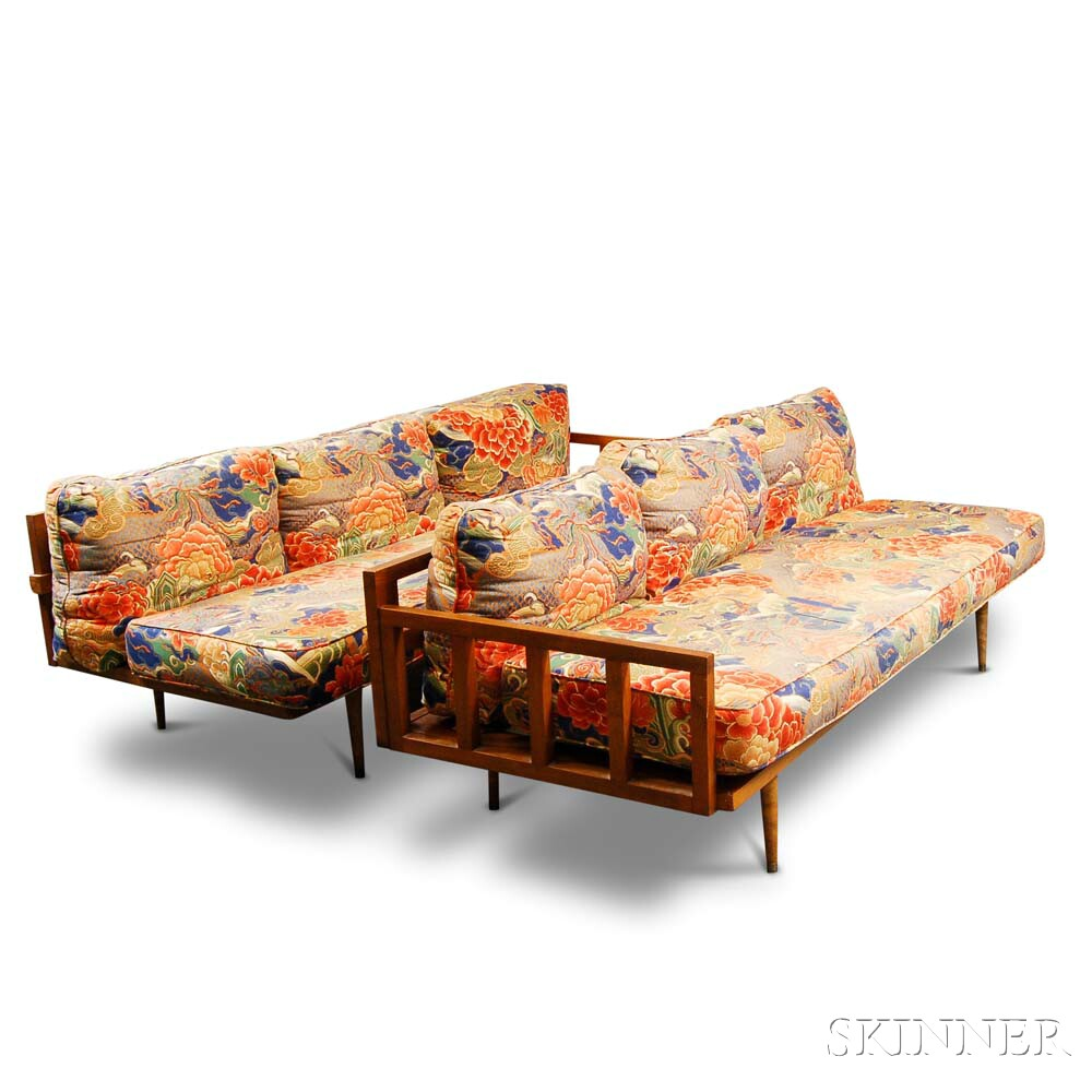 Two Mid-century Modern Upholstered Wood Sofas