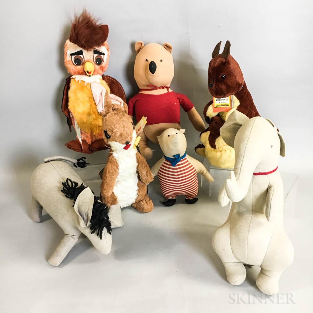 Seven Vintage Gund Winnie the Pooh Collection Stuffed Animals