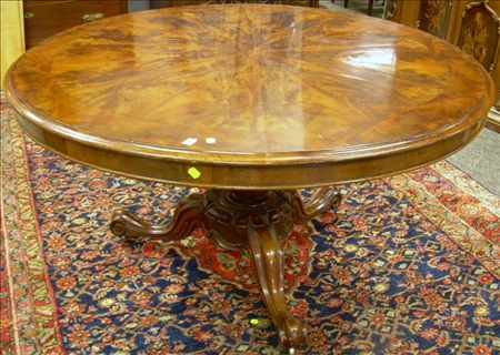 Victorian Rococo Revival Carved Mahogany and Mahogany Veneer Tilt-top Breakfast Table.