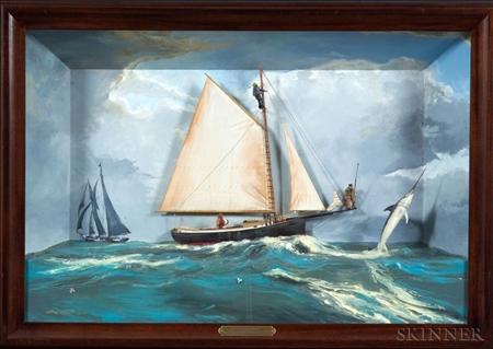 "Diorama: ""Getting Away""  New England Sword Fishermen c. 1920"