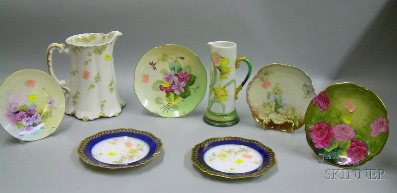 Six Continental Hand-painted and Transfer Decorated Porcelain Plates and Two Pitchers.